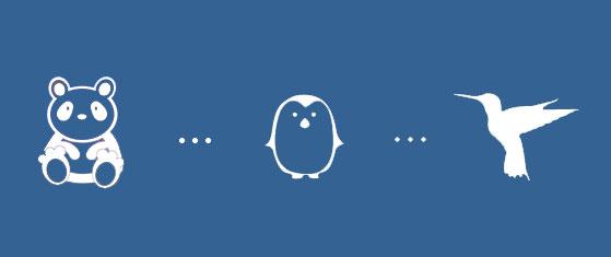 الگوريتم گوگل پنگوئن ، الگوريتم پاندا ف الگوريتم مرغ مگس خوار
